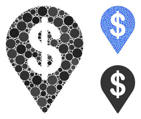 Dollar map pointer mosaic of circle elements in various sizes and color hues, based on dollar map pointer icon. Vector round elements are combined into blue mosaic. Stock Illustratie
