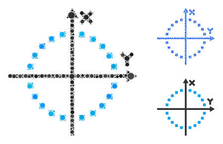 Circle plot composition of filled circles in different sizes and color tints, based on circle plot icon. Vector filled circles are organized into blue composition. Illusztráció