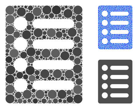 List mosaic of small circles in different sizes and color tints, based on list icon. Vector small circles are united into blue composition. Dotted list icon in usual and blue versions.