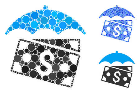 Banknotes umbrella composition of filled circles in various sizes and color hues, based on banknotes umbrella icon. Vector filled circles are composed into blue composition.
