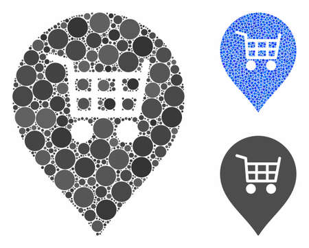Supermarket cart marker composition of small circles in different sizes and color tints, based on supermarket cart marker icon. Vector small circles are composed into blue composition.