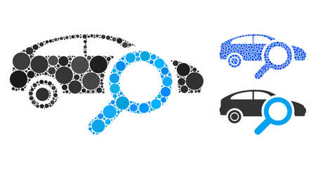Search car mosaic of filled circles in different sizes and color tinges, based on search car icon. Vector random circles are composed into blue mosaic.