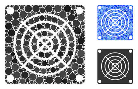 Mining ASIC device composition of small circles in different sizes and color tints, based on mining ASIC device icon. Vector small circles are united into blue composition. Stock Illustratie