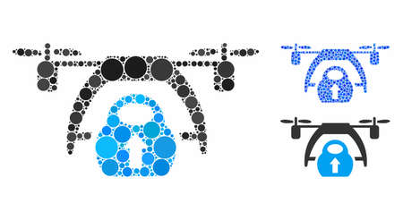 Drone loading composition of round dots in various sizes and color hues, based on drone loading icon. Vector dots are united into blue composition.