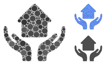 Home care hands composition of round dots in different sizes and color tones, based on home care hands icon. Vector round dots are united into blue illustration.