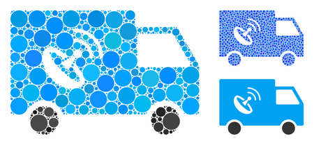 Remote control van composition of filled circles in various sizes and shades, based on remote control van icon. Vector small circles are united into blue composition. Çizim