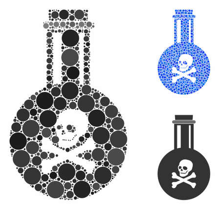 Poison composition of small circles in variable sizes and color tints, based on poison icon. Vector small circles are composed into blue illustration. Dotted poison icon in usual and blue versions.