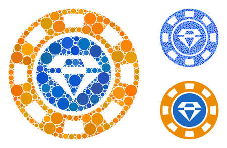 Gem casino chip composition of filled circles in different sizes and color tones, based on gem casino chip icon. Vector small circles are combined into blue composition. Ilustrace