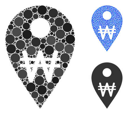 Korean Won map marker mosaic of small circles in variable sizes and color hues, based on Korean Won map marker icon. Vector random circles are composed into blue mosaic. Ilustração