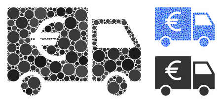 Euro car mosaic of small circles in variable sizes and color tinges, based on Euro car icon. Vector random circles are combined into blue mosaic. Dotted Euro car icon in usual and blue versions.