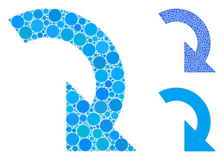 Rotate right mosaic of round dots in variable sizes and shades, based on rotate right icon. Vector round dots are grouped into blue illustration. Dotted rotate right icon in usual and blue versions.