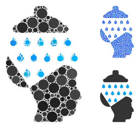 Open brain shower composition of round dots in variable sizes and color tinges, based on open brain shower icon. Vector round dots are grouped into blue composition.
