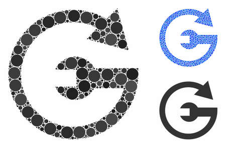 Repeat service mosaic of filled circles in different sizes and color hues, based on repeat service icon. Vector small circles are composed into blue collage.