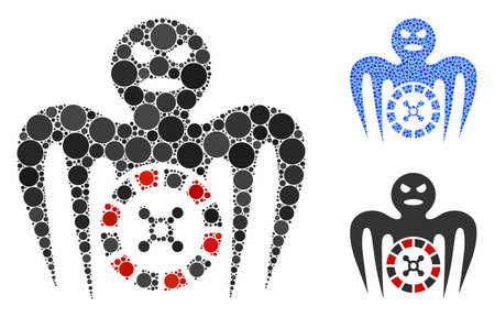 Roulette spectre monster mosaic of round dots in different sizes and color hues, based on roulette spectre monster icon. Vector round dots are grouped into blue collage. Illustration