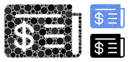 News composition of spheric dots in different sizes and color tints, based on news icon. Vector circle elements are combined into blue composition. Dotted news icon in usual and blue versions.