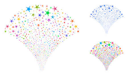 Star fountain mosaic of spheric dots in different sizes and color tinges, based on star fountain icon. Vector dots are combined into blue mosaic. Dotted star fountain icon in usual and blue versions.  イラスト・ベクター素材