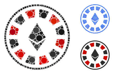 Ethereum casino roulette composition of small circles in various sizes and color hues, based on Ethereum casino roulette icon. Vector small circles are organized into blue collage.