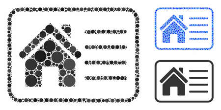 House info card composition of round dots in different sizes and color tones, based on house info card icon. Vector dots are grouped into blue composition. Иллюстрация