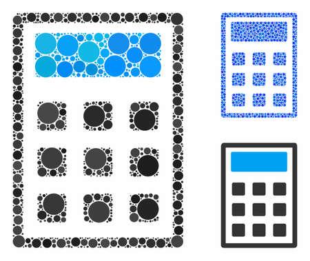 Rechnermosaik aus Kreiselementen in verschiedenen Größen und Schattierungen, basierend auf dem Rechnersymbol. Vektorkreiselemente werden in blaue Illustration komponiert.