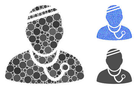 Sick physician composition of round dots in various sizes and color tints, based on sick physician icon. Vector round dots are united into blue composition.