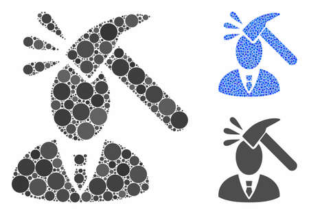 Manager shock composition of filled circles in different sizes and shades, based on manager shock icon. Vector filled circles are organized into blue illustration. Illusztráció