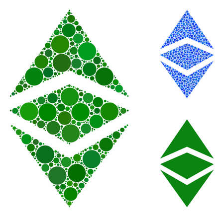 Ethereum classic mosaic of small circles in different sizes and color tinges, based on Ethereum classic icon. Vector filled circles are grouped into blue mosaic.