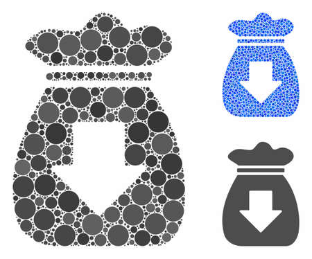 Profit bag mosaic of round dots in different sizes and color tints, based on profit bag icon. Vector round dots are combined into blue illustration. Dotted profit bag icon in usual and blue versions.