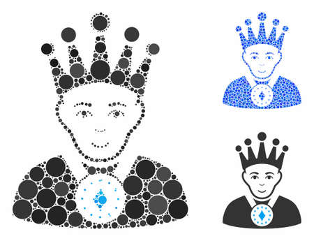 King mosaic of filled circles in variable sizes and shades, based on king icon. Vector round elements are organized into blue mosaic. Dotted king icon in usual and blue versions.