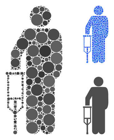 Patient crutch mosaic of filled circles in variable sizes and shades, based on patient crutch icon. Vector filled circles are combined into blue mosaic.