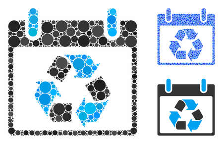 Recycle calendar day composition of circle elements in various sizes and color hues, based on recycle calendar day icon. Vector circle elements are combined into blue mosaic. Иллюстрация