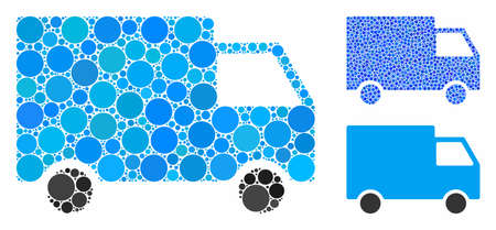 Cargo van mosaic of round dots in variable sizes and color hues, based on cargo van icon. Vector round dots are united into blue mosaic. Dotted cargo van icon in usual and blue versions. Stock Vector - 133433285