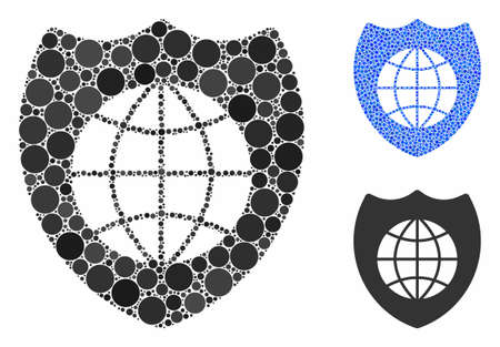 Global shield mosaic of filled circles in different sizes and color hues, based on global shield icon. Vector filled circles are composed into blue composition. Imagens - 133433289