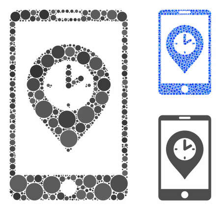 Mobile time pointer composition of small circles in various sizes and color tones, based on mobile time pointer icon. Vector random circles are united into blue composition. Illusztráció