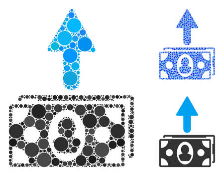 Spend banknotes mosaic of small circles in different sizes and color hues, based on spend banknotes icon. Vector small circles are combined into blue mosaic. Illustration