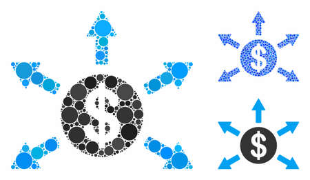 Dollar cashout arrows mosaic of circle elements in different sizes and color tints, based on dollar cashout arrows icon. Vector circle elements are combined into blue illustration.
