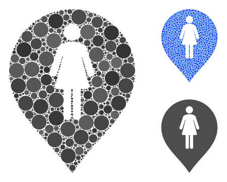 Female toilet marker mosaic of spheric dots in various sizes and color tinges, based on female toilet marker icon. Vector dots are grouped into blue mosaic. Ilustrace