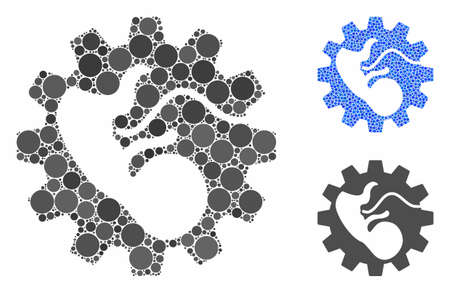 Artificial child composition of filled circles in variable sizes and color hues, based on artificial child icon. Vector random circles are composed into blue illustration.