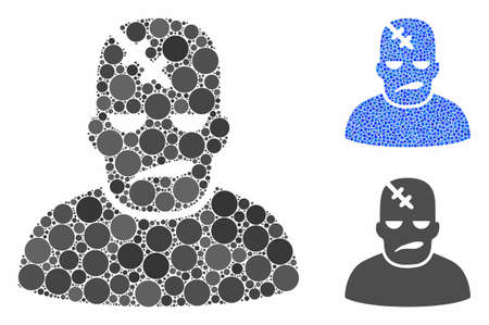Neurology patient mosaic of filled circles in variable sizes and color tones, based on neurology patient icon. Vector filled circles are combined into blue illustration.