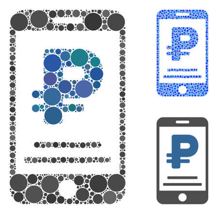 Rouble mobile payment composition of round dots in various sizes and color hues, based on rouble mobile payment icon. Vector dots are united into blue composition.