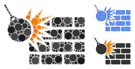 Brick wall destruction composition of round dots in different sizes and shades, based on brick wall destruction icon. Vector round dots are organized into blue composition.