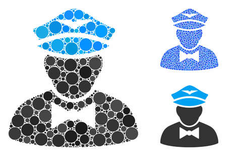Airline steward composition of round dots in different sizes and shades, based on airline steward icon. Vector round dots are grouped into blue composition.