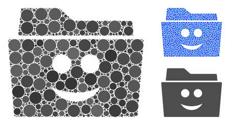 Smile folder composition of circle elements in different sizes and shades, based on smile folder icon. Vector circle elements are composed into blue mosaic.
