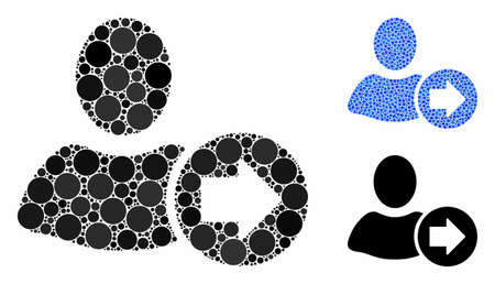 Next user composition of round dots in variable sizes and color hues, based on next user icon. Vector dots are united into blue collage. Dotted next user icon in usual and blue versions.