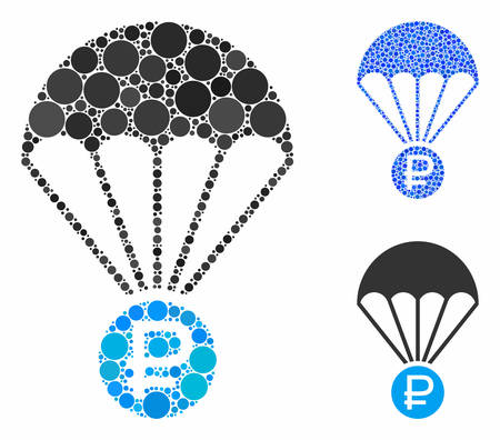 Rouble rescue composition of filled circles in different sizes and color tints, based on rouble rescue icon. Vector filled circles are combined into blue composition.