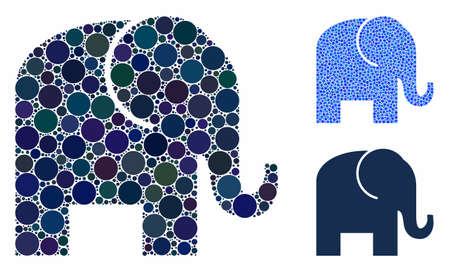 Elephant mosaic of small circles in variable sizes and color tinges, based on elephant icon. Vector random circles are composed into blue mosaic. Dotted elephant icon in usual and blue versions.