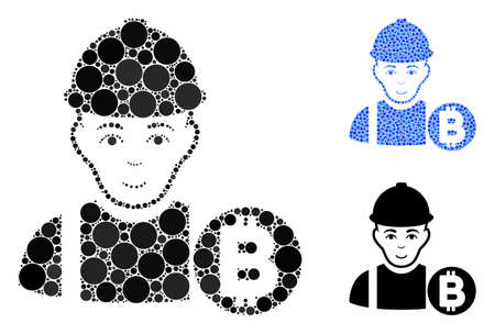 Bitcoin miner mosaic of circle elements in various sizes and color hues, based on Bitcoin miner icon. Vector circle elements are united into blue collage.