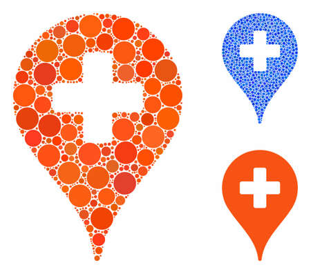 Clinic map pointer composition of small circles in various sizes and shades, based on clinic map pointer icon. Vector small circles are combined into blue collage.