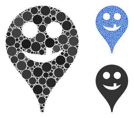 Tooth smiley map marker mosaic of filled circles in different sizes and color tints, based on tooth smiley map marker icon. Vector random circles are combined into blue mosaic.