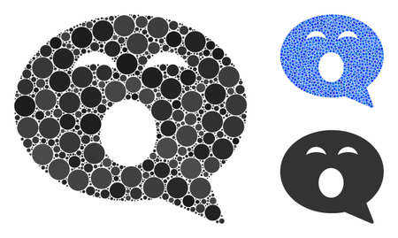 Sleepy smiley message composition of filled circles in different sizes and color tints, based on sleepy smiley message icon. Vector small circles are combined into blue composition.
