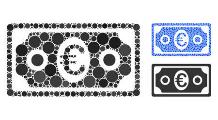 Euro banknote composition of small circles in different sizes and color tints, based on Euro banknote icon. Vector filled circles are composed into blue composition. Stock Illustratie
